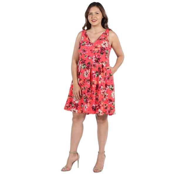 077329a5e01 24Seven Comfort Apparel Coral Red and Pink Floral Plus Size Mini Dress