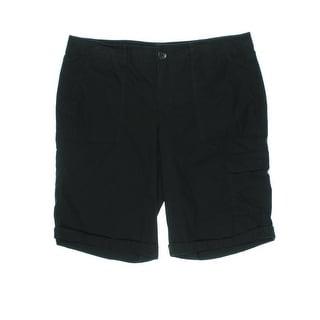 DKNY Jeans Womens Juniors Cargo Shorts Poplin Cuffed