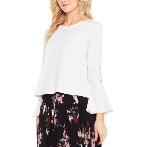 Vince Camuto Womens Flutter Cuff Knit Blouse, off-white, Small