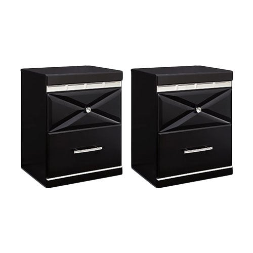 """Fancee Black Two Drawer Night Stand B34892 (2-Pack) Fancee Black Two Drawer Night Stand"""