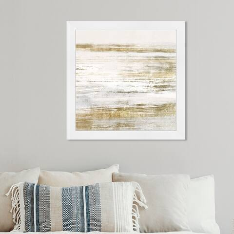 Oliver Gal 'Blush Romance Gold' Abstract Framed Wall Art Prints Paint - Gold, White