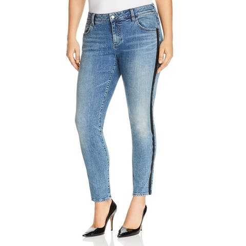 Lucky Brand Womens Plus Skinny Jeans Denim Striped