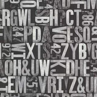 Brewster 2604-21251 Letterpress Silver Typography Wallpaper