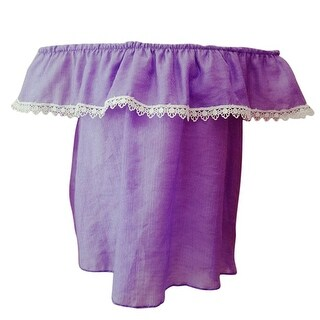 Little Girls Purple Contrast Scalloped Lace Trim Off-Shoulder Blouse Top (2 options available)