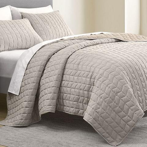 Wonderful Brushed Microfiber Flannel Heathered Quilt Set