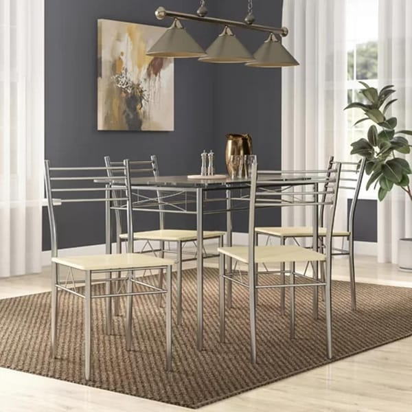 Shop VECELO Glass Dining Table Sets With 4 Chairs Kitchen