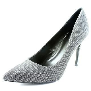 Carlos by Carlos Santana Posy Women Pointed Toe Canvas Silver Heels