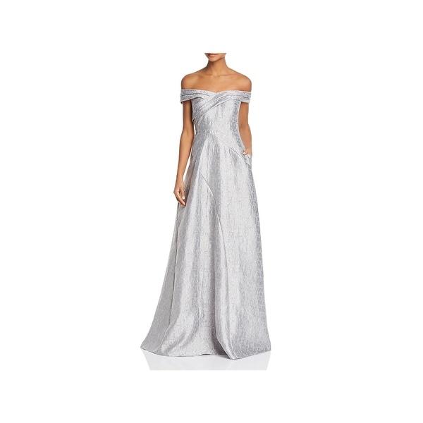 Aidan Mattox Womens Evening Dress Shimmer Off-The-Shoulder