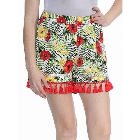 XOXO White Red Womens Floral Tassel Trim Shorts