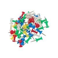 Unique Bargains 50 Pcs Home/Office Metal Board Map Push Pins Thumbtacks w Plastic Head