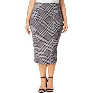 Melissa McCarthy Seven7 Womens Plus Pencil Skirt Plaid Below Knee - 0X