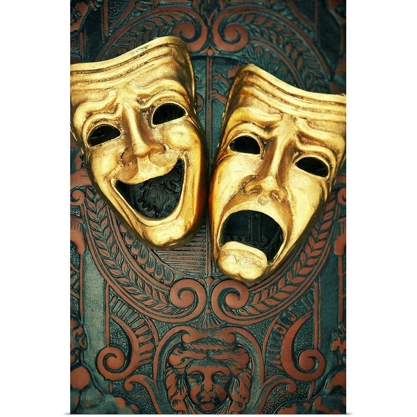 """""""Golden comedy and tragedy masks on patterned leather"""" Poster Print"""