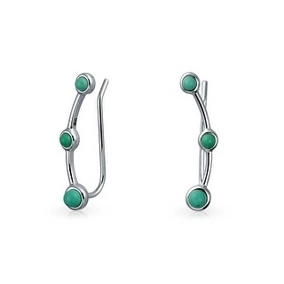 Geometric Blue Turquoise Ear Pin Earrings Crawlers Sterling Silver