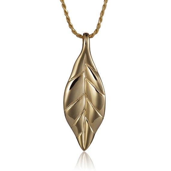 """Maile Necklace 14k Gold Pendant 18"""" Chain"""