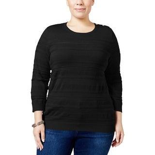 Karen Scott Womens Plus Sweater Textured Shadow Stripe
