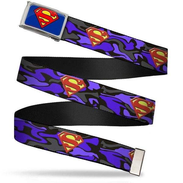 Superman Fcg Blue Chrome Superman Shield Camo Blue Webbing Web Belt