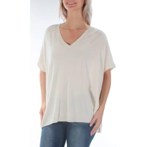 Ralph Lauren Womens Ivory Short Sleeve V Neck Sweater Size S
