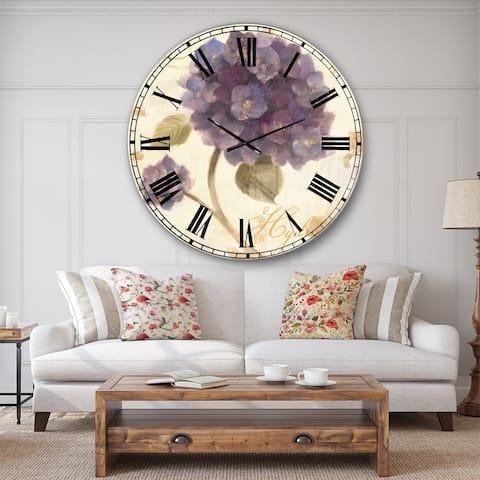 Designart 'Abundant Hydrangea Flower II' Floral Cottage Large Wall CLock