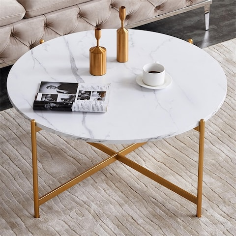 Modern Round coffee table,golden color frame with marble wood top-36