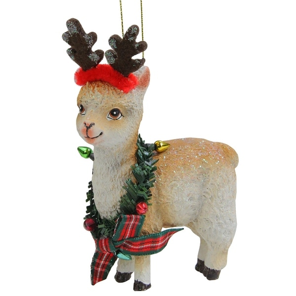 "4.5"" White and Red Llama Wearing a Wreath Christmas Ornament. Opens flyout."