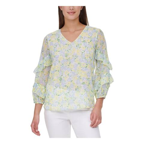 CALVIN KLEIN Womens White Floral 3/4 Sleeve V Neck Top Size L
