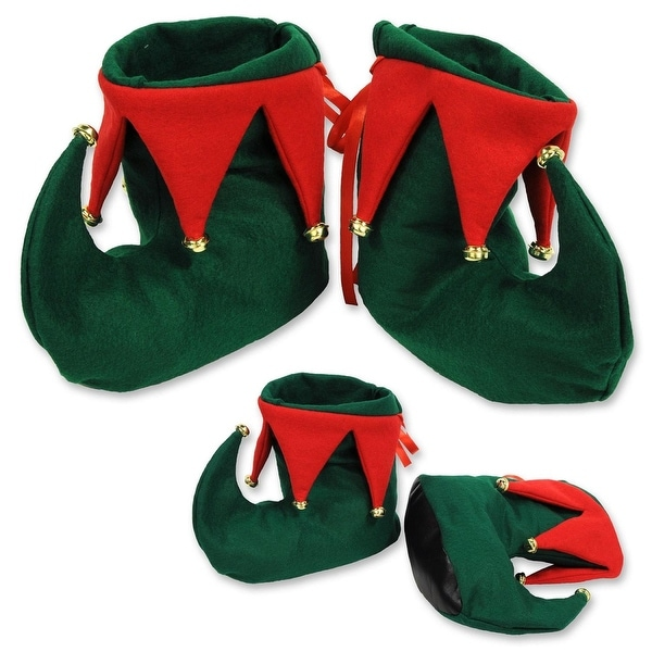 Club Pack of 12 Pairs Red and Green Elf Boots with Jingle Bells - Adult Sized