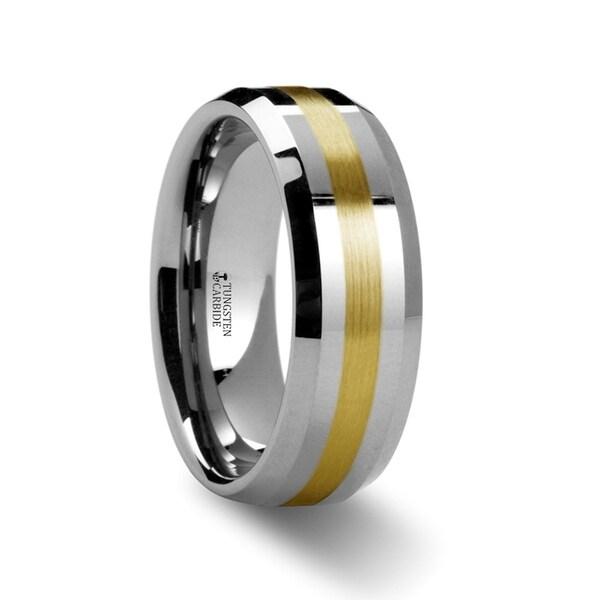 Legionaire Gold Inlaid Beveled Tungsten Ring