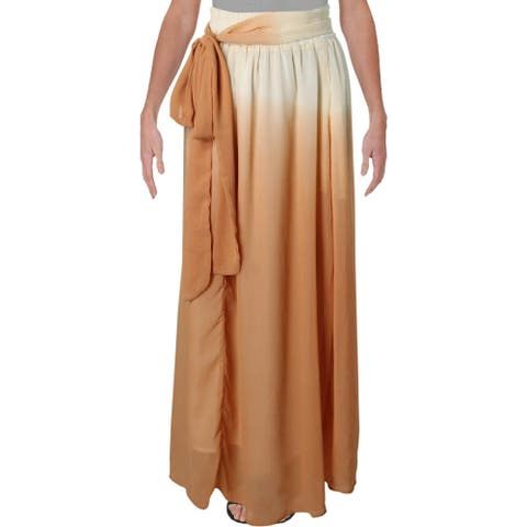 Verona Womens Elena Maxi Skirt Chiffon Pull On - Orange Cream Ombre