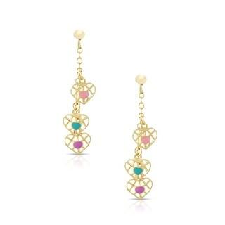 Lily Nily Girl's 3 Hearts Dangle Earrings