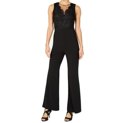 Adrianna Papell Womens Jumpsuit Black Size 20W Plus Lace Illusion