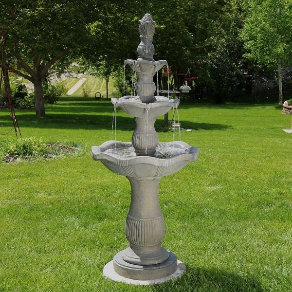 Sunnydaze Vivan 3 Tier Garden Water Fountain 57 Inch Tall