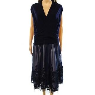 SLNY NEW Blue Navy Women's Size 14W Plus Empire Waist Soutache Dress