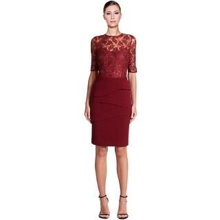 Teri Jon Beaded Lace Bodice Tiered Sheath Cocktail Evening Dress - 10