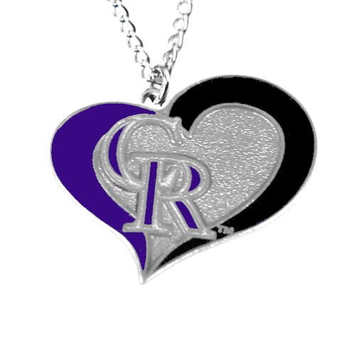 MLB Colorado Rockies Sports Team Logo Swirl Heart Necklace
