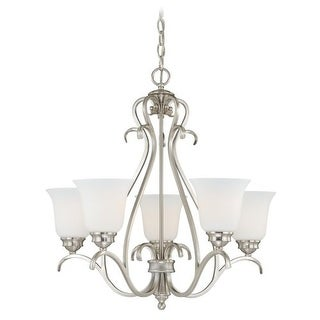 Vaxcel Lighting H0153 Hartford 5 Light Single Tier Chandelier with Glass Shades - 25 Inches Wide