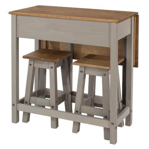 Wood Breakfast Set of Drop Leaf Table and 2 Stools Corona Gray / Furniture Dash