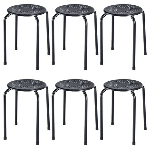 Costway Set of 6 Stackable Metal Stool Set Daisy Backless Round Top