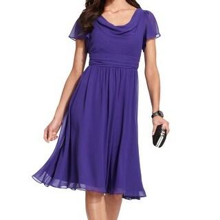 S.L. Fashions NEW Purple Women's Size 12 Empire Waist Chiffon Dress