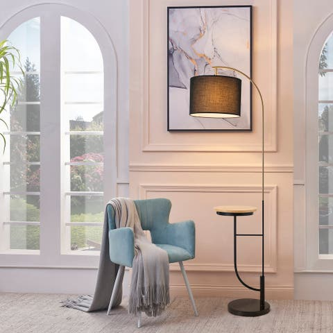 Versanora - Danna Arc Floor Lamp with USB Port, Wood Table, Marble Base