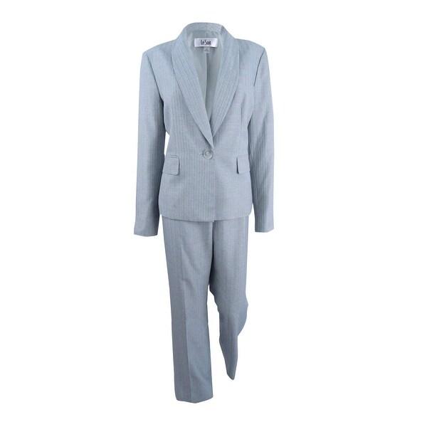 Shop Le Suit Women S Pinstripe Pantsuit Khaki Navy On Sale