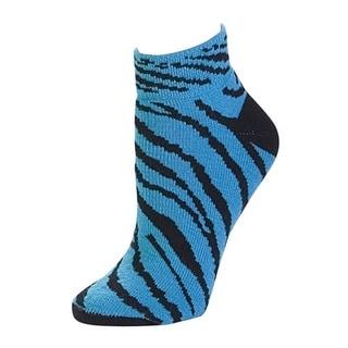 Pizzazz Girl Size 8-Women Size 12 Turquoise Zebra Anklet Socks Cheer