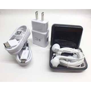 OEM Samsung AFC Fast Charger W/ TYPE C & Micro USB + Headset Stylus Kit