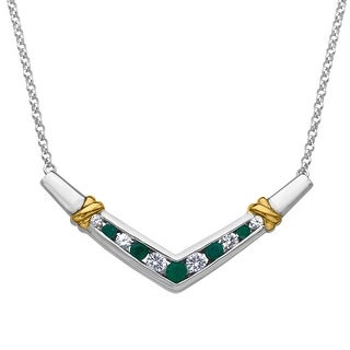 7/8 ct Natural Emerald and Created Sapphire Necklace in Sterling Silver and 14K Gold - Green
