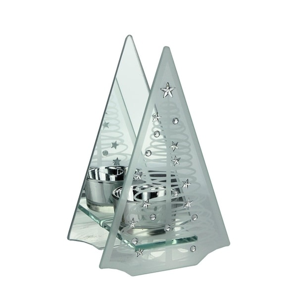 """6.75"""" Frosted Glass Mirrored Christmas Tree Tea Light Candle Holder - silver"""