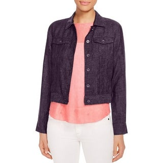 Eileen Fisher Womens Cropped Jacket Linen Long Sleeves