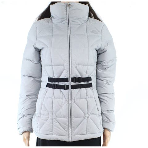 The North Face Womens Mera Peak Jacket Silver Small S Belted Puffer