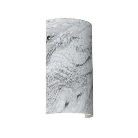Besa Lighting 7042MG-LED Tamburo 1 Light ADA Compliant LED Wall Sconce with Marble Grigio Glass Shade - satin nickel