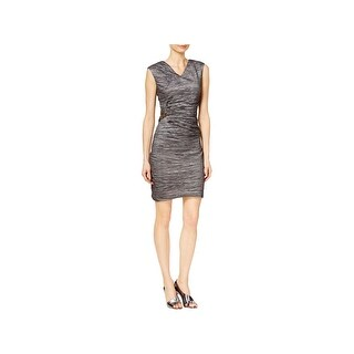 Calvin Klein Womens Party Dress Textured Cap Sleeves