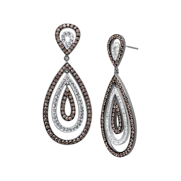 Crystaluxe Drop Earrings with Swarovski Crystals in Sterling Silver - White