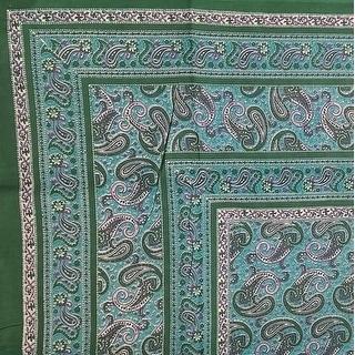 "Handmade Paisley Print Cotton Tapestry Beach Sheet Bedspread Coverlet Full 88""x106"" Green"